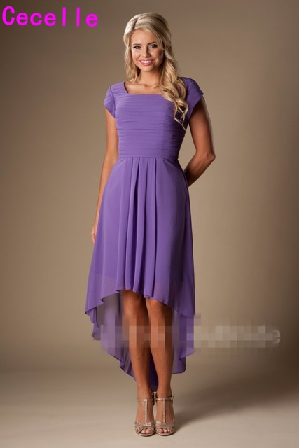 Lilac High Low Short Modest Bridesmaid Dresses With Sleeves Short Front  Long Back Summer Maids of Honor Dresses Wedding Party 895c2548f601