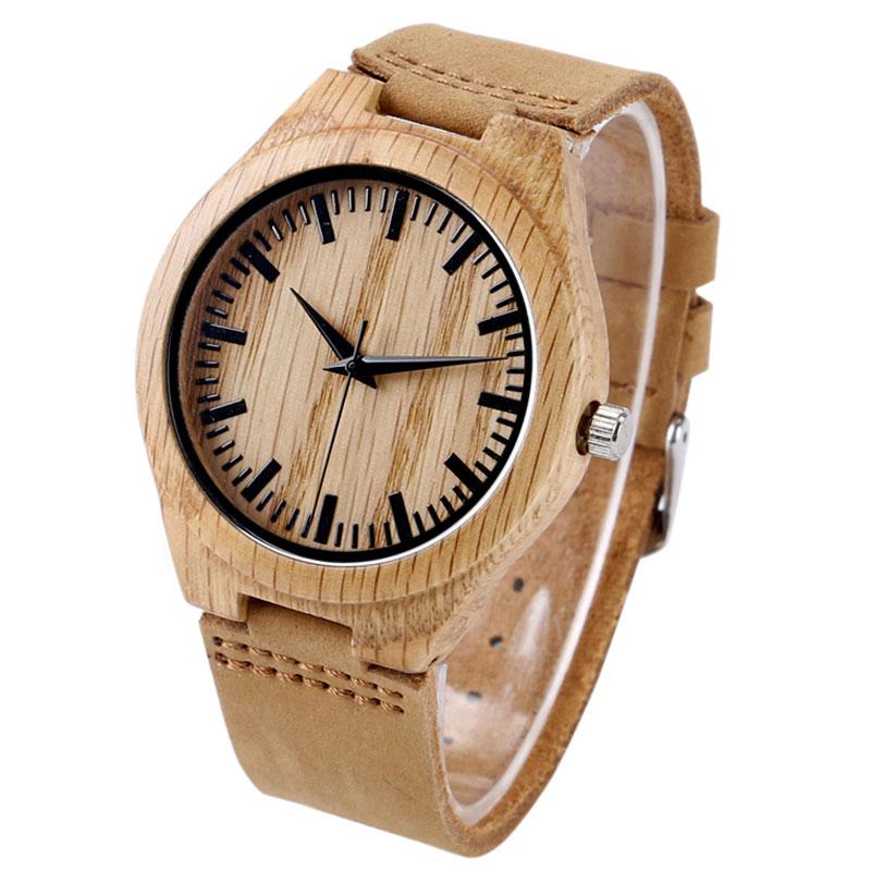 Fashion Wooden Light Quartz Wrist Watches with Leather Bracelet Khaki Bamboo Watch for Men Women relojes