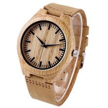 Fashion Wooden Light Quartz Wrist Watches with Leather Bracelet Khaki Bamboo Watch for Men Women relojes de pulsera