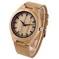 Luz De moda De Madeira relógio de Quartzo Relógios de Pulso com Pulseira de Couro Relógio para Homens Khaki Bambu Mulheres relojes de pulsera
