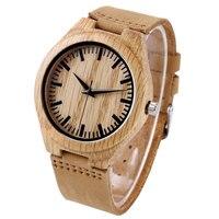 Women Sport Fashion Nature Wood Bangle Analog Wrist Watch Casual Genuine Leather Band Strap Bamboo Men