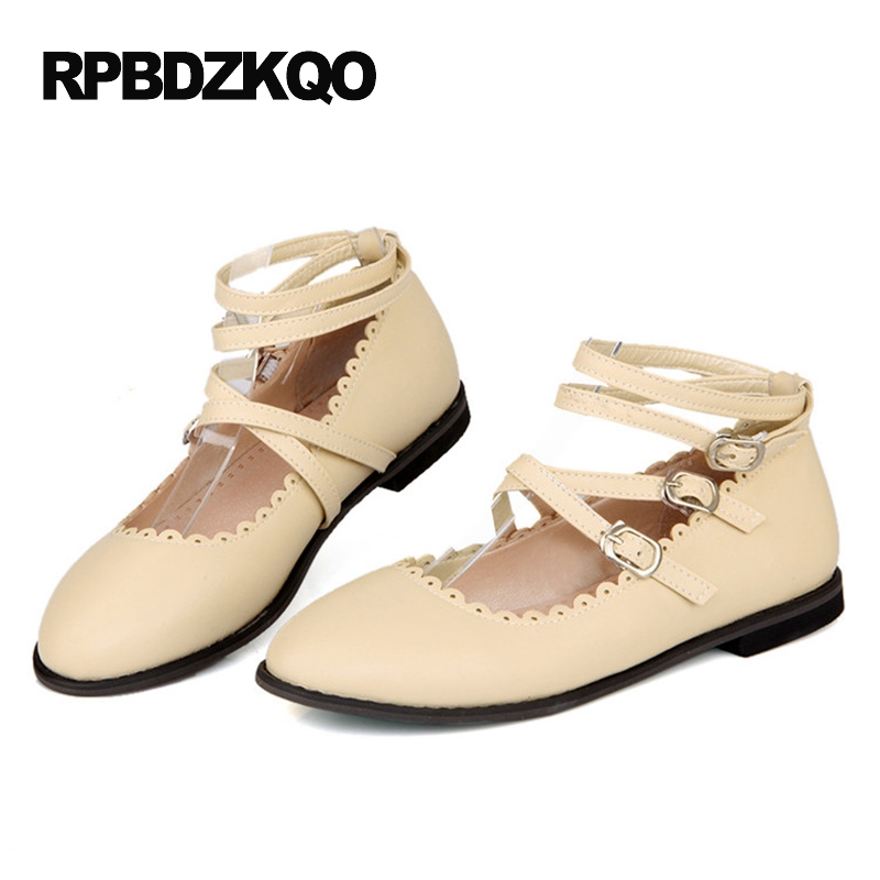 Nude 2017 Platform 10 Ladies Low Heel Slip Resistant Large Size Round Toe Beautiful Flats Shoes Ankle Strap Cheap Women Custom caiman swt 50ex