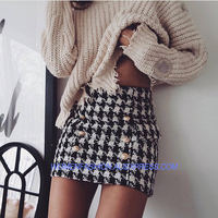 New Fashion 2018 Runway Designer Skirt Women's Lion Buttons Double Breasted Tweed Wool Houndstooth Mini Skirt