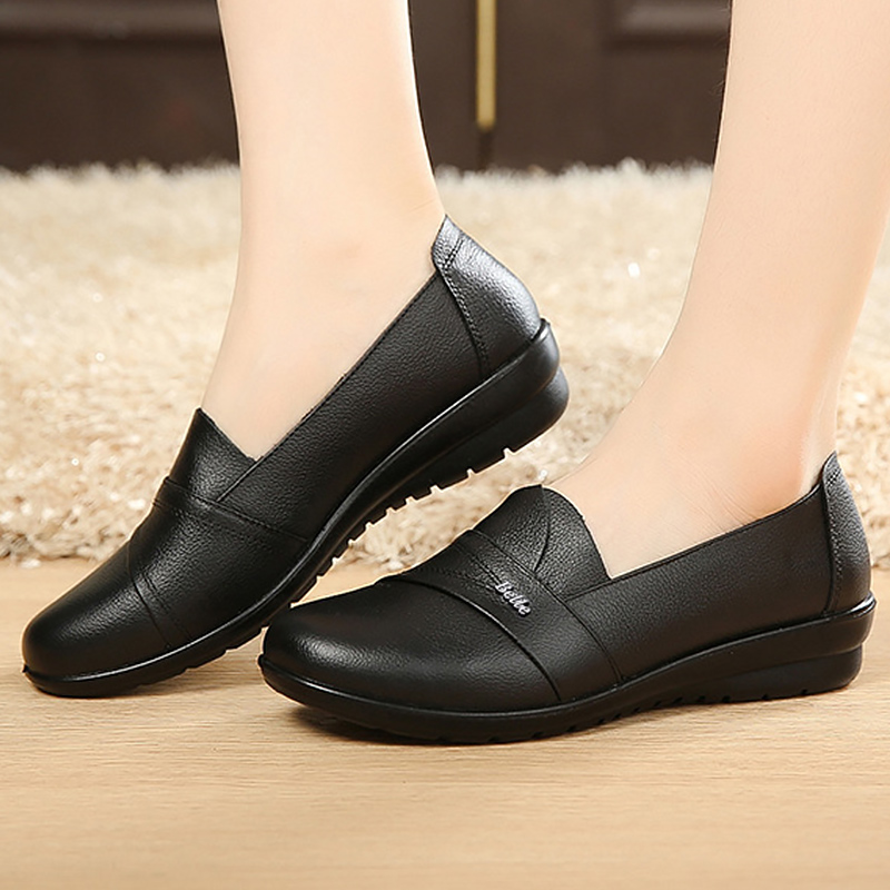 Slip-on Loafers Flats Women Shoes Genuine Leather Flats Size 35-41 Round Toe Solid Black Shoes Woman Sapatos Feminino