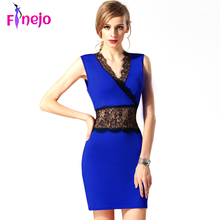 2016 Fashion New V neck Bodycon Dress Women Sexy Dress Slim Hip Evening Party Lace Mini Dresses Club Dress