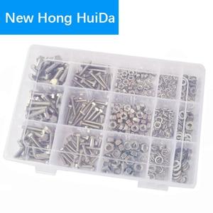 Image 2 - DIN933 Hex Flat Head Bolt Nut Hexagon Thread Metric Screw Flat and Lock Washers Set Assortment Kit 304 Stainless Steel M4 M5 M6