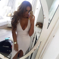 Women sexy strapless solid dress 2017 Summer deep-V sexy party club slim dress sleeveless package hip hot sale new arrive