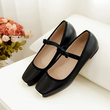 Women's Mary Janes Ballet Flats Genuine Leather Sweet Bowtie Slip-on Ballerians Shoes Women Brand Design Square Toe Single Shoes