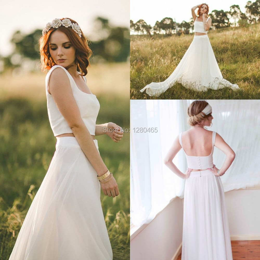 2015 Long A Line 2 Piece Wedding Dresses Cheap Wedding Dress With