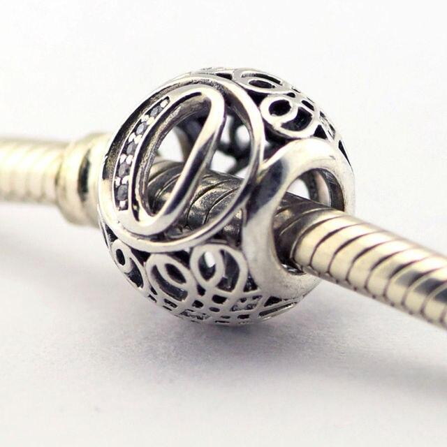 Se adapta a pandora pulsera del encanto de 100% 925 cuentas de plata esterlina de la letra o de la vendimia encantos con clear cz mujeres diy joyería al por mayor
