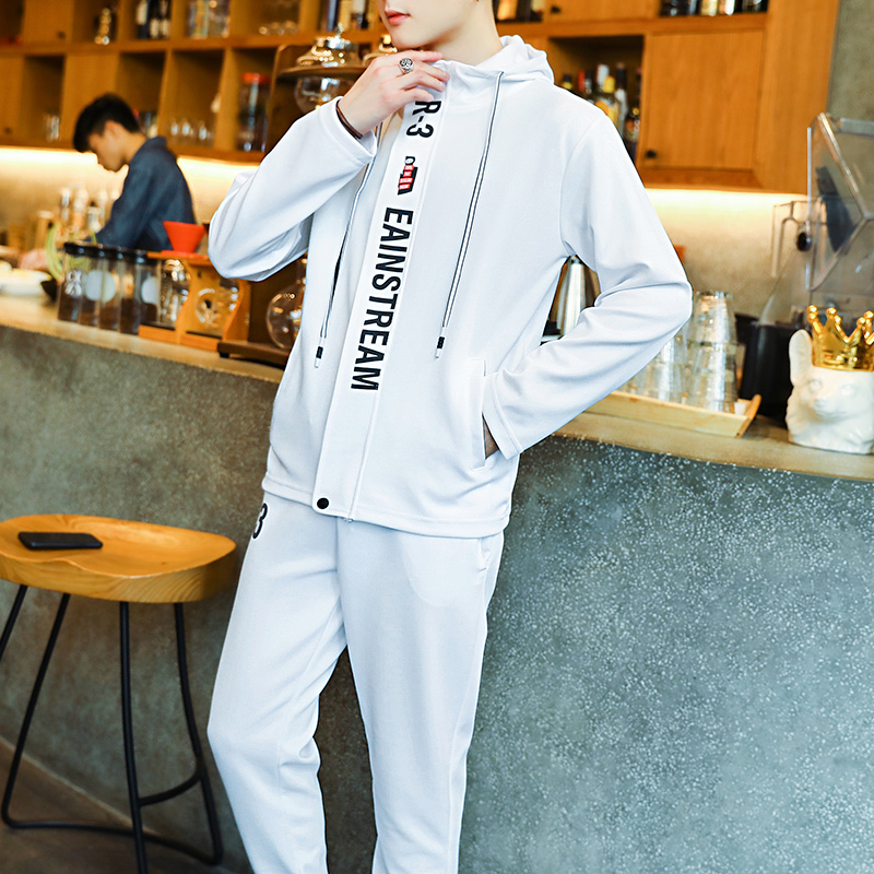 Мужской спортивный костюм, костюм из 2 предметов, штаны, куртки, мужские костюмы, одежда для бега для мужчин, одежда для упражнений, комплект одежды для фитнеса, костюм для мальчиков - Цвет: Белый