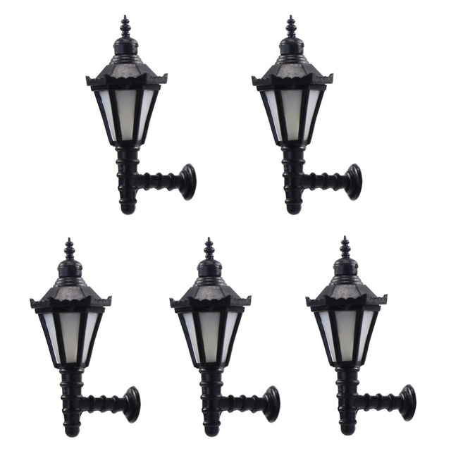 US $12 99 |5pcs Model Railway Led Lamppost Lamps Wall Lights O Scale 12V  New LBD02 led light model building kit-in Model Building Kits from Toys &
