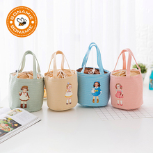 BONAMIE Hot Cute Little Girl Pattern Thermal Cooler Bag Insulated Bento Pouch