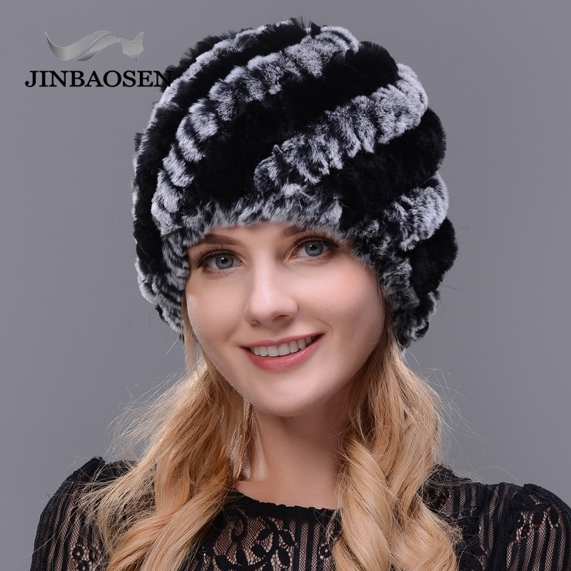 JINBAOSEN 2018 Women s fashion fur rabbit fur hat double warm knit hat natural fur hat