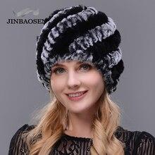 JINBAOSEN 2018 Для женщин Мода с кроличьим мехом меховая шапка двойной теплая шапка натуральный мех шляпа норки Зимняя туристический лыж cap