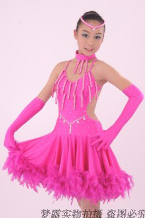 Aliexpress.com : Buy Latin Dance Dress Children With Feather Girls ...