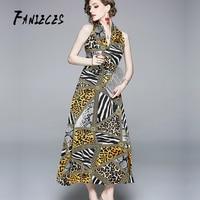 Summer sexy Leopard V Neck Elegant Long party Dress Women Fashion Print beach Dresses Runway Big Swing Maxi Vestidos sundress