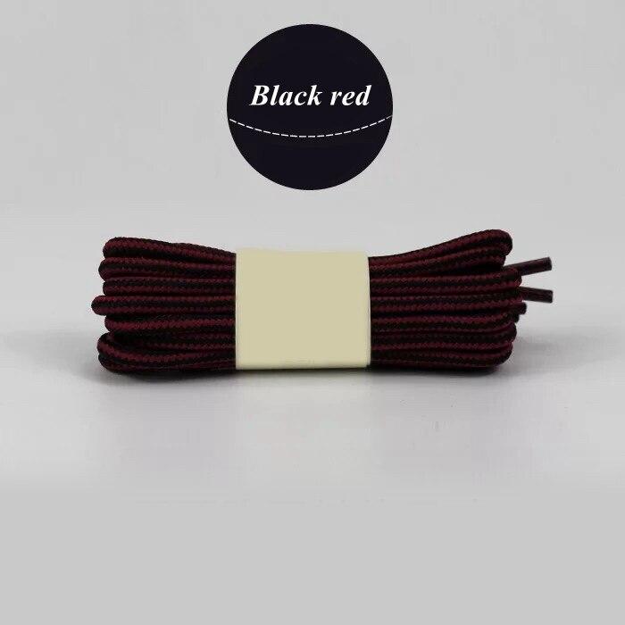 1 пара колготок в полоску двойной Цвет шнурки ботинки на открытом воздухе спортивные шнурки хлопок Круглые Шнурки 18 Цвета Длина 70 см, 90 см, 120 см 150 см - Цвет: Black red