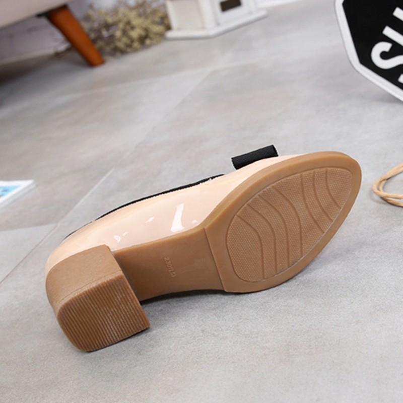 Sweet Bowtie Patent Leather Pumps Round Roe Women\'s Platform Elegant Thick High Heel Shoes Plus Size 34-40 Slip-on High Heels (8)