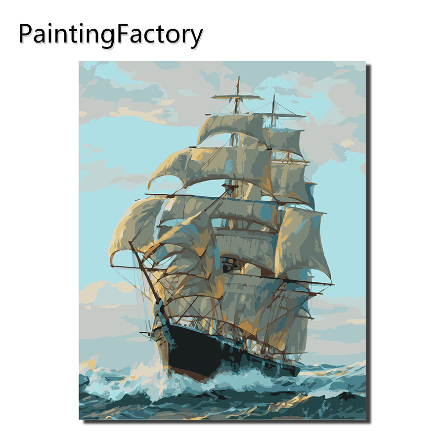 PaintingFactory Sailing Boat Painting By Numbers Drawing Color ...