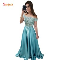 Turquoise Bridesmaid Dress For Wedding Sheer Tulle Neck Short Sleeves Beaded Lace Party Gowns For Women Long Satin Dress BY80