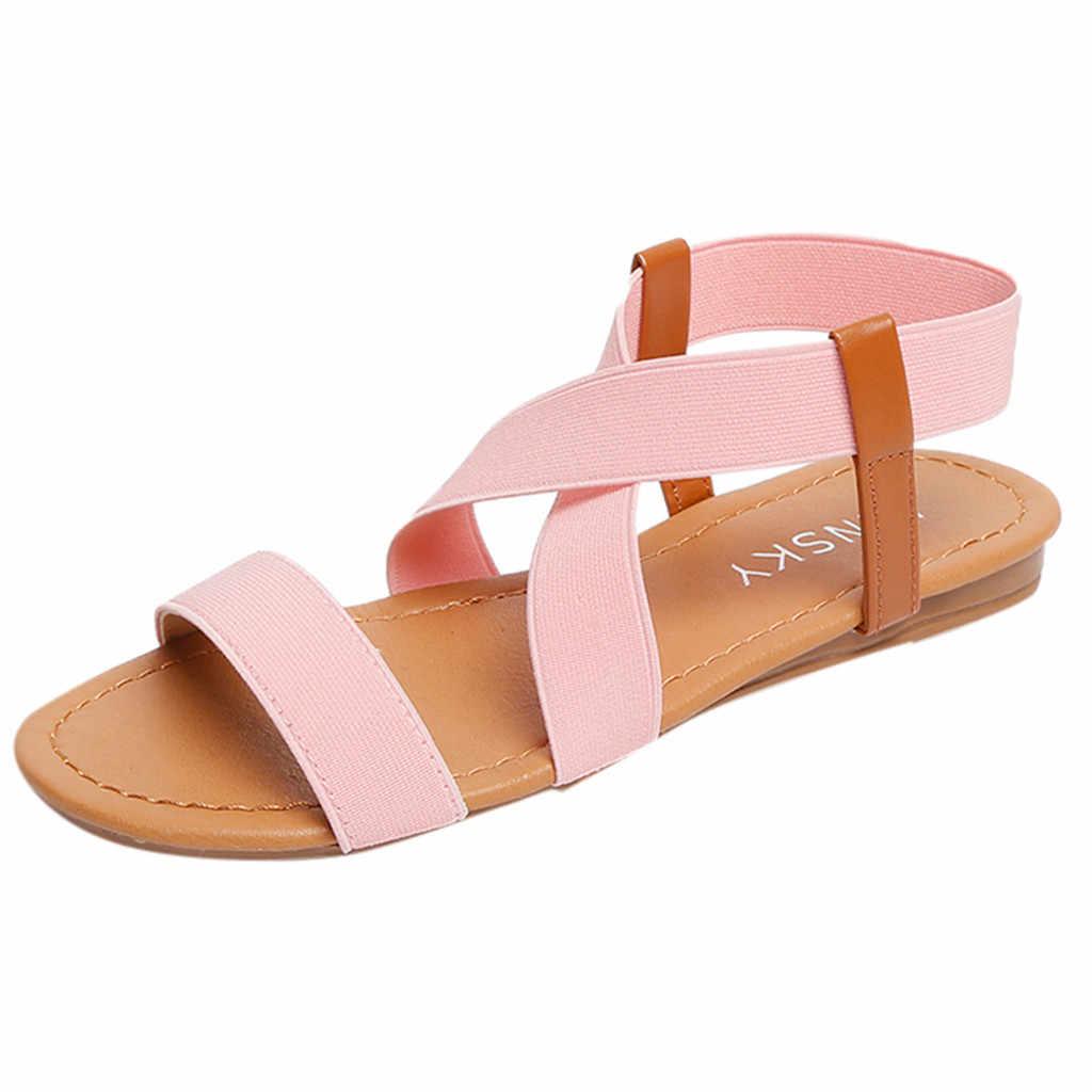 2019 Sandálias Primavera Verão Senhoras Sapatos de Salto Baixo das Mulheres Anti Derrapante Sapatos de Praia Da Moda Peep-toe Casual Walking sandalias