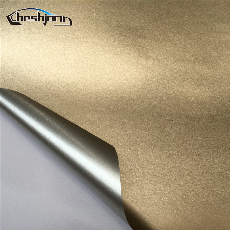 Champagne Golden Full Car Body Wrap Ice Matte Chrome Vinyl Chrome Matt Film Vehicle Decorative Wrapping Stickers