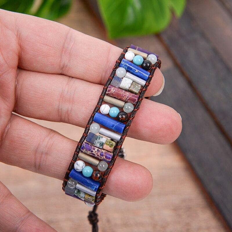 Drop Verschiffen Frauen Boho Armband Rohr Form Naturstein Einzel Leder Wickelarmband Halbedelstein Perlen Armband