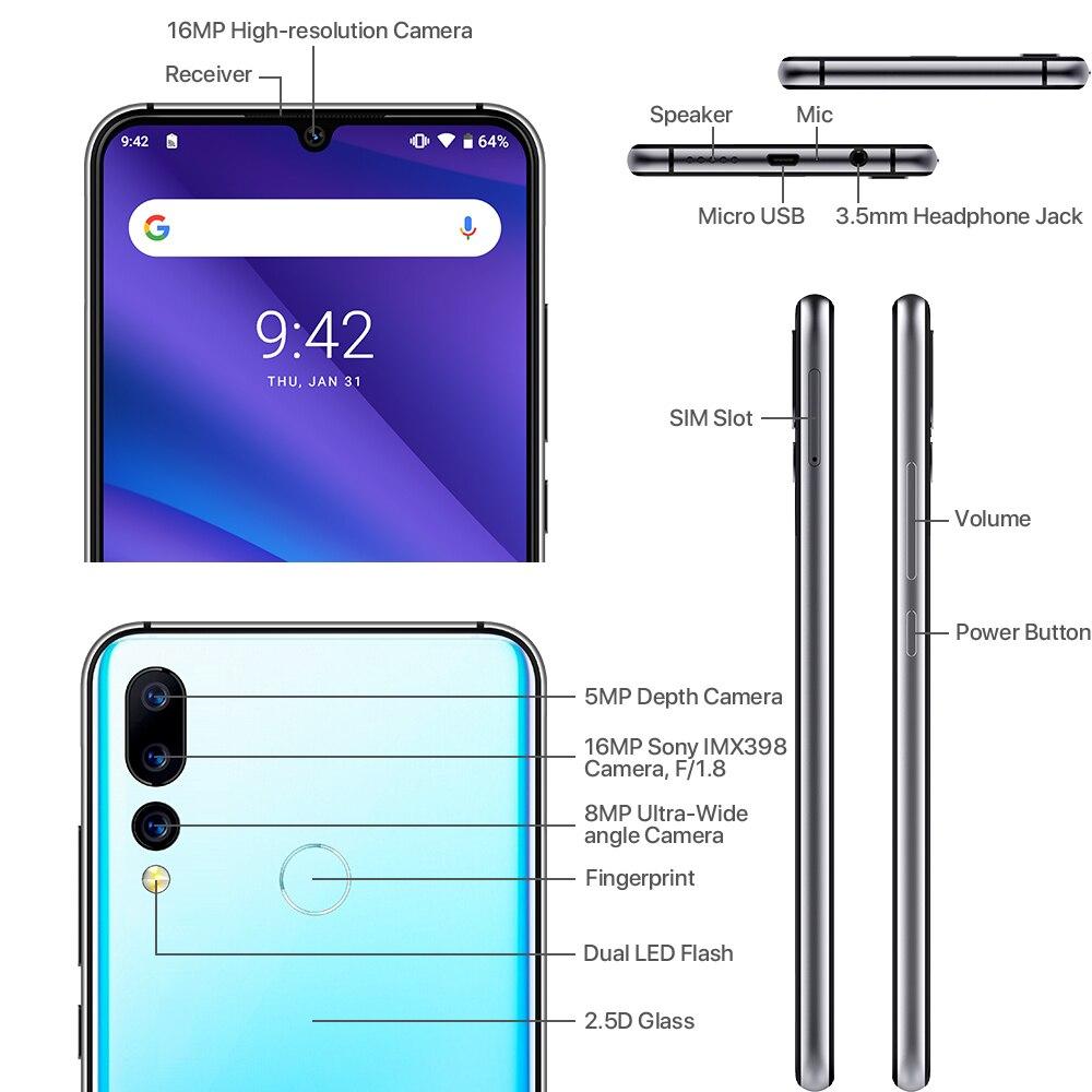 Version mondiale UMIDIGI A5 PRO Android 9.0 Octa Core 6.3 'FHD + Waterdrop 16MP Triple caméra 4150mAh 4GB RAM 4G Smartphone celulaire - 4