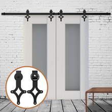 LWZH Country Style 14FT/15FT Antique Sliding Doors Barns Rhombus Shaped Black Sliding Hardware Rail Track Kits for Double Door