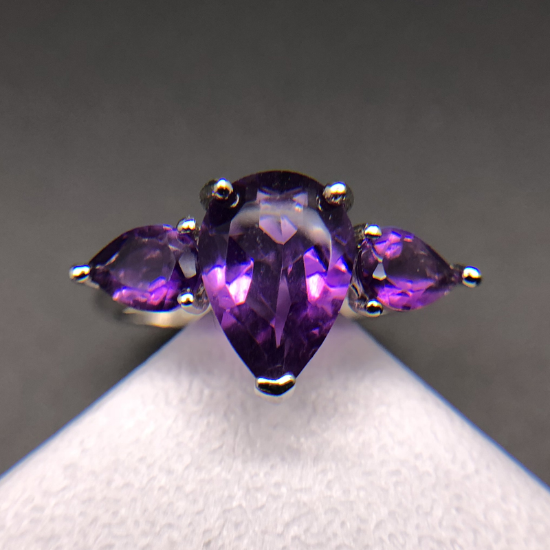 African amethyst rings 925 sterling silver with natural pear 4*6mm and 7*10mm gemstone simple design fine jewelry for girl