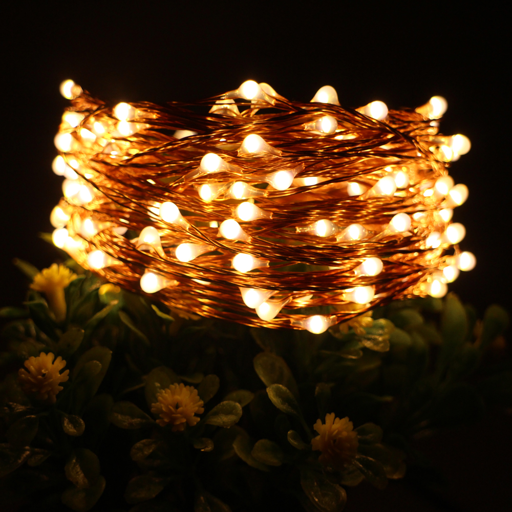33FT 10M 100LED Copper Wire LED String Lights With 12V 1A Adapter Led Touch Dimmer Decoration Party Christmas Starry Fairy Light agm 10m copper wire led string light garland 100led battery fairy light for christmas new year home decoration festival decor