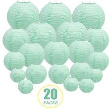 """20 قطعة 6 """" 12"""" فوانيس ورقية خضراء للنعناع الصينية اليابانية مستديرة لامبيون لحفل الزفاف lampion de mariage معلقة ديكور ذاتي الصنع"""