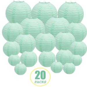 """Image 1 - 20 pçs 6 """" 12"""" mint lanternas de papel verde chinês japonês lampion redondo para festa de casamento lampion de mariage pendurado decoração diy"""