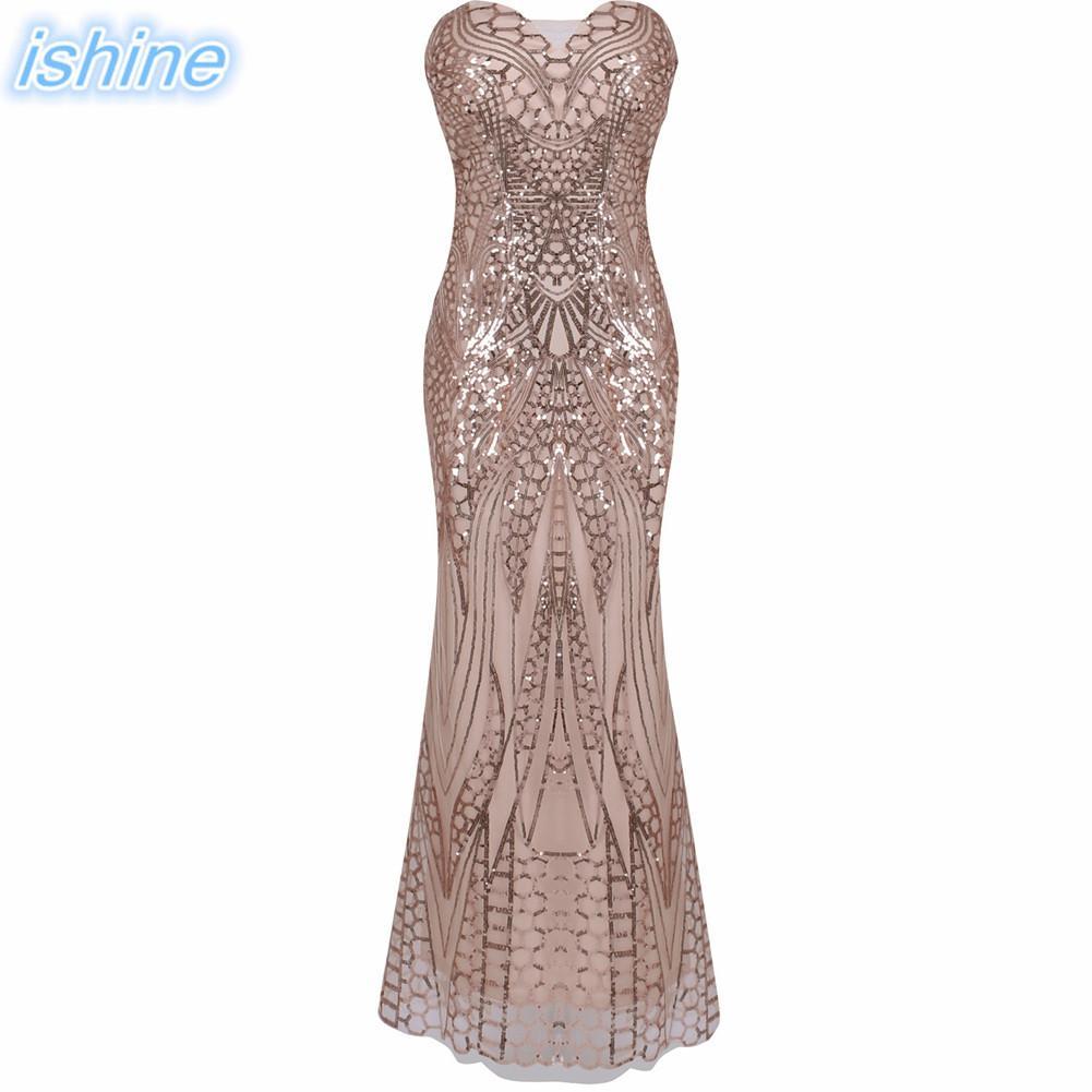 Champagne Strapless Gown Sexy Sequin Beaded Maxi Party Dresses Long Mermaid Dress Robe de Soiree Abendkleid Vestido de Festa
