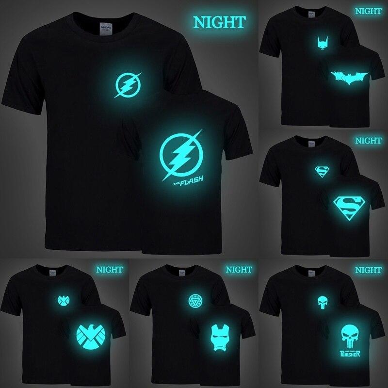 Camiseta luminosa de superhéroe The Flash Batman Superman Iron Man de manga corta informal cómoda para adolescentes
