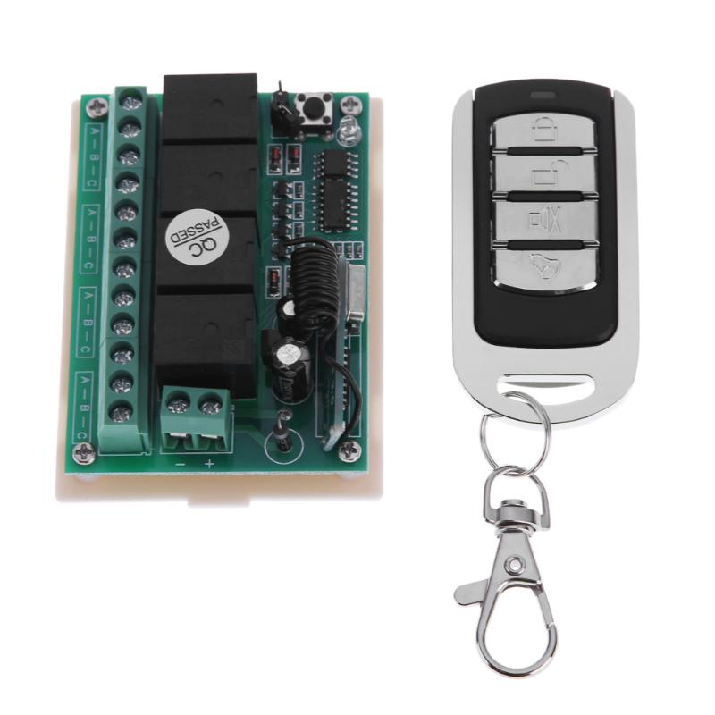 Universal 433 Mhz Wireless Remote Control Switch DC 12V 4CH relay Receiver Transmitter Module With 4 channel RF Remote universal 433 mhz 2 channel remote control learning code 1527 relay receiver module wireless diy garage gate door switch dc 12v