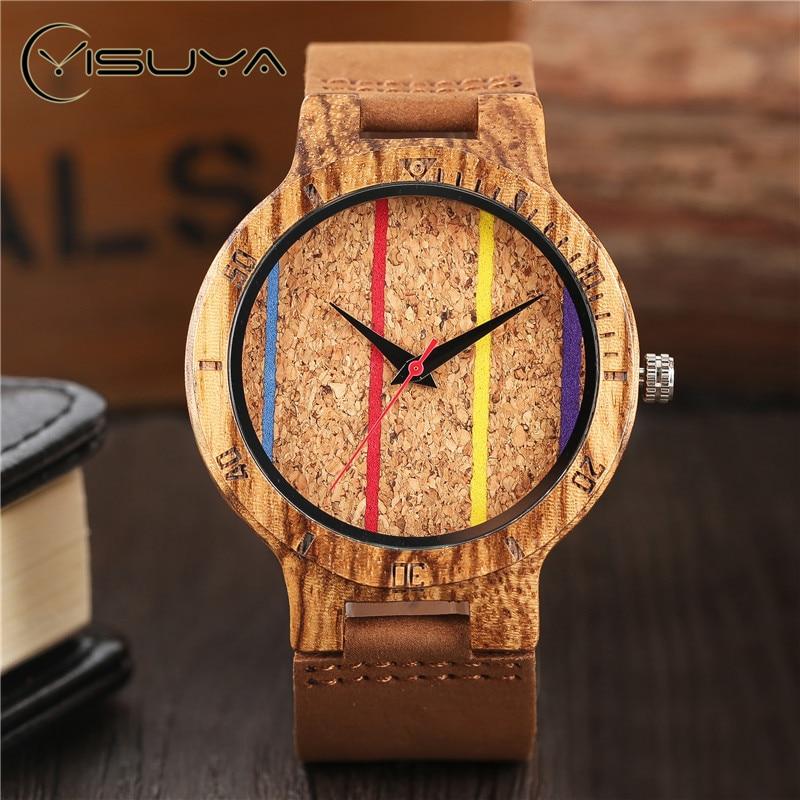 YISUYA Bambú Creativo Reloj de madera de madera para hombre Línea - Relojes para hombres