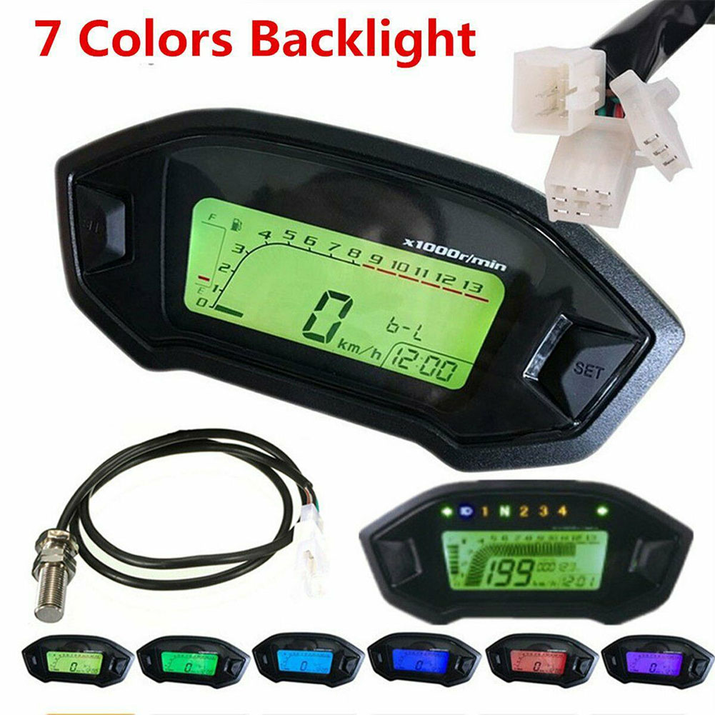 Tachometer Accessories Motorcycle Speedometer Replacement Colorful  Backlight LCD Digital Easy Use Waterproof Odometer Universal