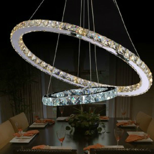 Hot Sale Modern Two Circles LED Crystal Chandelier Light Pendant With Dia.400 + 200XH650mm Position Diamond Ring Free Shipping