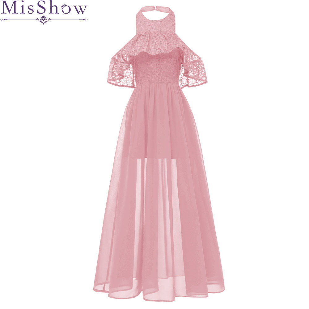 Sexy Halter Neck Robe De Soiree Longue 2019 Pink Chiffon   Evening     Dresses   Long A-Line Lace Prom   Dress   Special Occasion Ball Gown