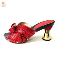 Red Wedding African Shoes Without Bag Matching Set Novelty Italian Shoes Nigerian Summer Sandals Shoes Good Quality High Heels