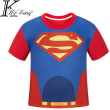 Summer fashion kids boys cartoon short-sleeve t-short super man hero t-shirt children's clothing shorts tops Tees print casual