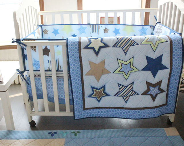7pcs Blue Star Baby Cot Crib Bedding Set For Boys Nursery Bed Kit Embroidery Quilt