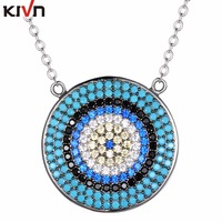 KIVN Fashion Jewelry Spiritual Turkish Evil Eye Pave CZ Cubic Zirconia Pendant Necklaces For Women Wholesale