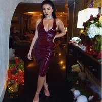 sexy black latex pu leather dress 2017 women summer spaghetti strap celebrity runway club party dresses backless vestidos