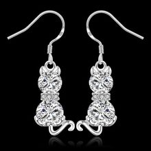 Estilo del verano fine silver plated pendientes 925-sterling-silver joyería de piedra blanco pendientes para para SE335