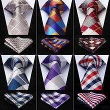 """Мужской удлиненный галстук в клетку 3,"""" Шелковый модный мужской носовой платок в горошек галстук Карманный квадратный классический вечерние Свадебный комплект# Q5"""