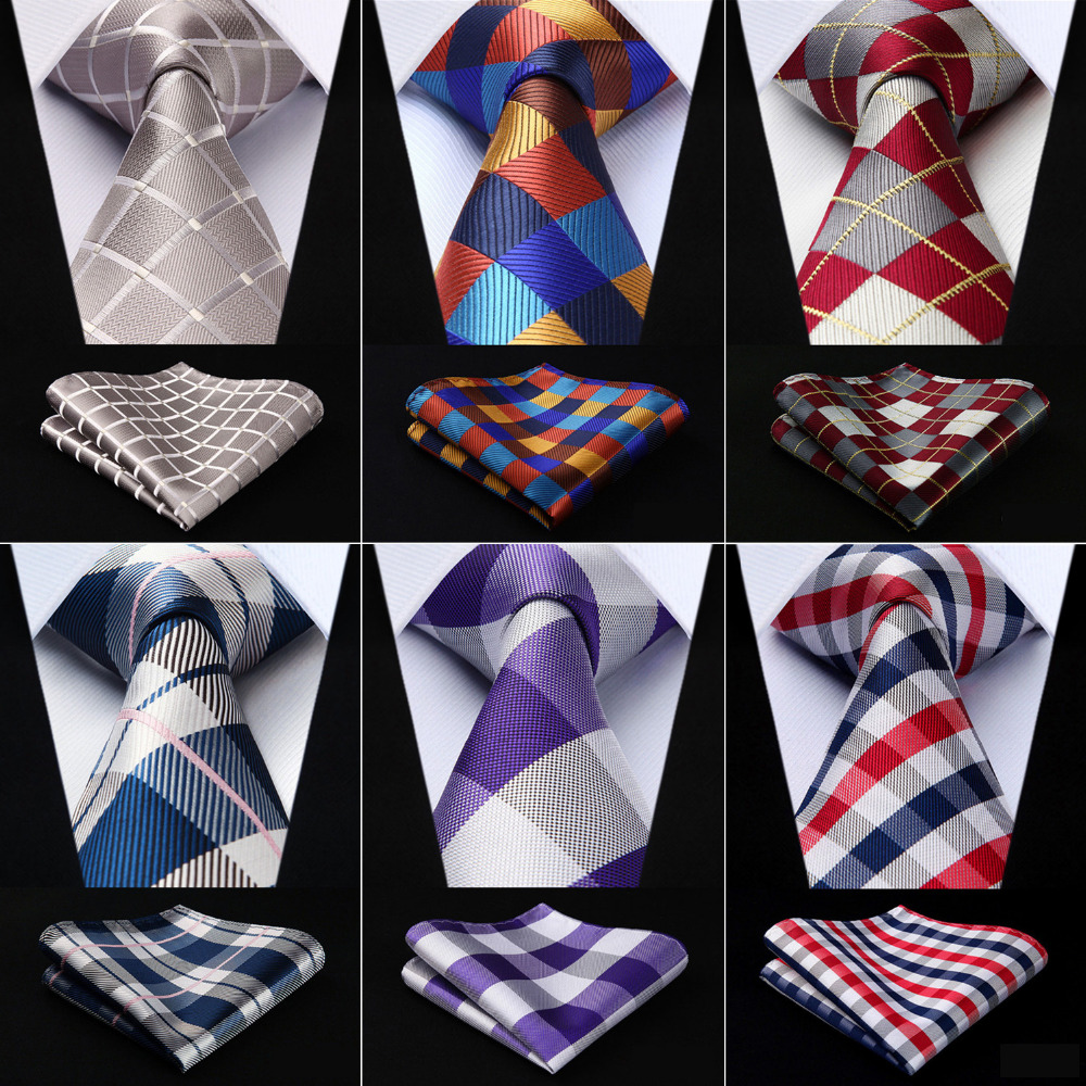 Men Extra Long Tie Check 3.4