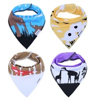 3 To 24 Months Baby Bandana Drool Bibs Scarf Bib Unisex 4 Pack Absorbent Cotton With